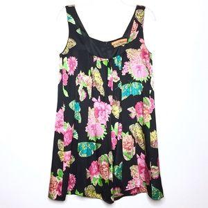 Karen Zambos Black Silk Butterfly Print Dress Sz S